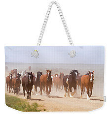 Weekender Tote Bag featuring the digital art Herd Of Horses During The Great American Horse Drive On A Dusty Road by Nadja Rider