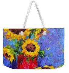 Here Comes The Sunshine Modern Impressionist Floral Still Life Palette Knife Work Weekender Tote Bag
