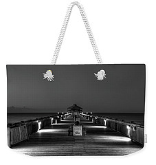 Weekender Tote Bag featuring the photograph Here It Comes Folly Beach Pier Sunrise Art by Reid Callaway
