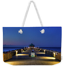 Weekender Tote Bag featuring the photograph Here It Comes Now Folly Beach Pier Sunrise Art by Reid Callaway