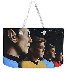 Weekender Tote Bag featuring the painting Heroes Of The Final Frontier by Kim Lockman