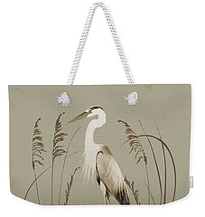 Heron And Lotus Flowers Weekender Tote Bag
