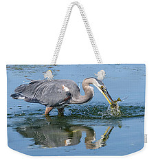 Great Blue Heron Catches A Fish Weekender Tote Bag