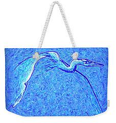 Weekender Tote Bag featuring the photograph Heron In Flight by Walt Foegelle