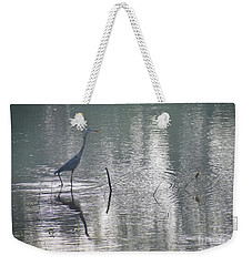 Weekender Tote Bag featuring the photograph Heron In Pastel Waters by Skip Willits