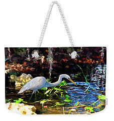 Heron In Quiet Pool Weekender Tote Bag by David  Van Hulst