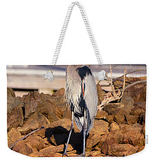 Weekender Tote Bag featuring the photograph Heron On The Rocks by Lisa Wooten