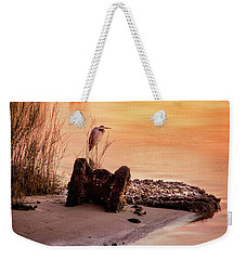 Weekender Tote Bag featuring the photograph Heron On The Rocks by Phil Mancuso