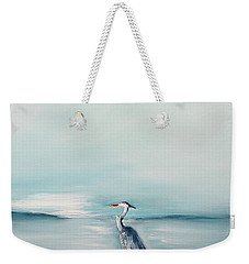 Weekender Tote Bag featuring the painting Heron Silence by Miroslaw  Chelchowski