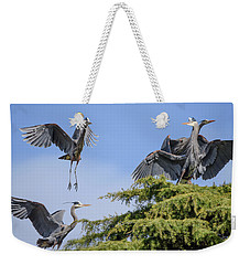 Herons Mating Dance Weekender Tote Bag by Keith Boone