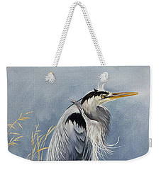 Weekender Tote Bag featuring the painting Herons Windswept Shore by James Williamson
