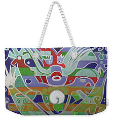 Weekender Tote Bag featuring the painting Hexagram 15-qian  by Denise Weaver Ross
