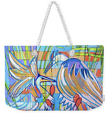 Weekender Tote Bag featuring the painting Hexagram 17-sui by Denise Weaver Ross