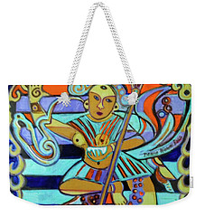 Weekender Tote Bag featuring the painting Hexagram 23-po-splitting Apart by Denise Weaver Ross