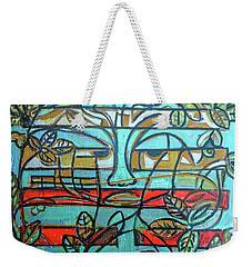 Weekender Tote Bag featuring the painting Hexagram 37-jiaren-family by Denise Weaver Ross