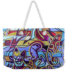Weekender Tote Bag featuring the painting  Hexagram 38-kui by Denise Weaver Ross
