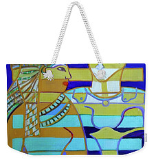 Weekender Tote Bag featuring the painting Hexagram 44-gou-encounter by Denise Weaver Ross