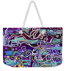 Weekender Tote Bag featuring the painting Hexagram-51-zhen-thunder-shock by Denise Weaver Ross