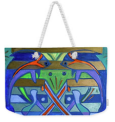 Weekender Tote Bag featuring the painting Hexagram-61-zhoong-fu-sincerity by Denise Weaver Ross