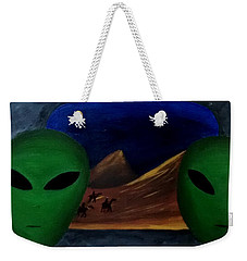 Hey Bob, I Think They Are Following Us.. Weekender Tote Bag by Lola Connelly