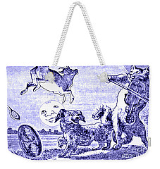 Weekender Tote Bag featuring the painting Hey Diddle Diddle The Cat And The Fiddle Nursery Rhyme by Marian Cates