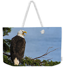 Weekender Tote Bag featuring the photograph Hey by Gary Lengyel