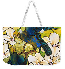 Hibiscus And Parrots Weekender Tote Bag by Louis Comfort Tiffany