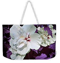 Weekender Tote Bag featuring the photograph Hibiscus - Circa 2006 Saratoga, Ny by Iowan Stone-Flowers