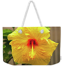 Hibiscus Flower After The Rain Weekender Tote Bag by Michael Courtney