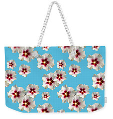 Weekender Tote Bag featuring the mixed media Hibiscus Flower Pattern by Christina Rollo
