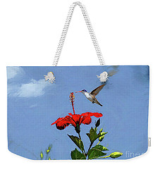 Weekender Tote Bag featuring the photograph Hibiscus High by John Kolenberg