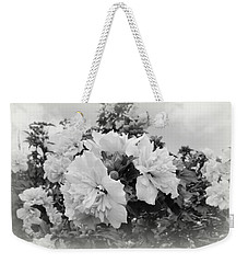 Weekender Tote Bag featuring the photograph Hibiscus Mutabilis - Bw by Beth Vincent