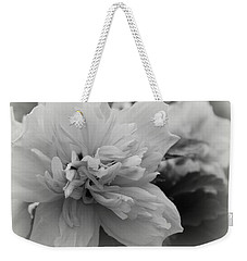 Weekender Tote Bag featuring the photograph Hibiscus Mutabilis II - Bw by Beth Vincent
