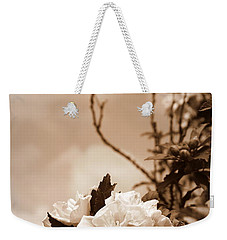 Weekender Tote Bag featuring the photograph Hibiscus Mutabilis - Sepia by Beth Vincent