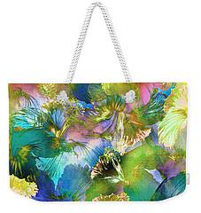 Weekender Tote Bag featuring the digital art Hibiscus Trumpets by Klara Acel