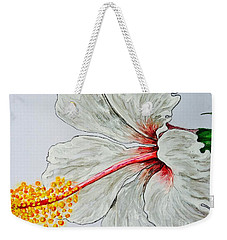 Hibiscus White And Red Weekender Tote Bag