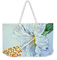 Weekender Tote Bag featuring the painting Hibiscus White And Yellow by Sheron Petrie