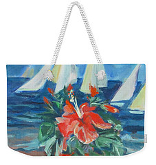 Hibiscus With An Orange And Sails For Breakfast Weekender Tote Bag