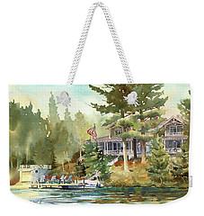 Weekender Tote Bag featuring the painting Hidden Lake by Kris Parins