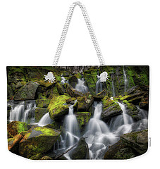 Weekender Tote Bag featuring the photograph Hidden Mossy Falls by Bill Wakeley