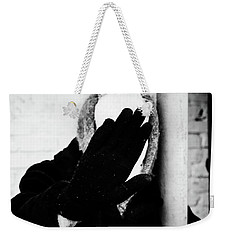Weekender Tote Bag featuring the photograph Hidden Woman In Black Fur by John Williams