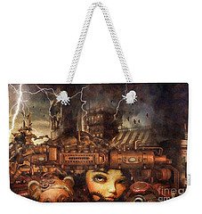 Weekender Tote Bag featuring the drawing Hide And Seek by Mo T