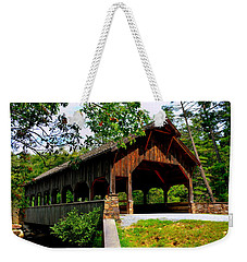 Weekender Tote Bag featuring the photograph High Falls Covered Bridge by Lisa Wooten