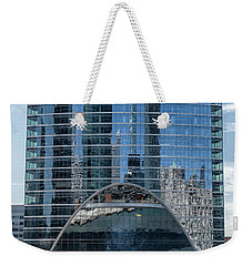 Weekender Tote Bag featuring the photograph High Rise Reflections by Alan Toepfer