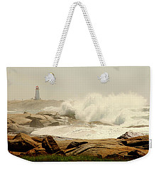 High Surf After A Hurricane Crashing On The Rocks At Peggy's Cove, Nova Scotia, Canada Weekender Tote Bag
