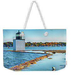 Weekender Tote Bag featuring the photograph High Tide At Derby Wharf In Salem by Jeff Folger