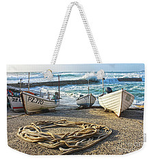 Weekender Tote Bag featuring the photograph High Tide In Sennen Cove Cornwall by Terri Waters