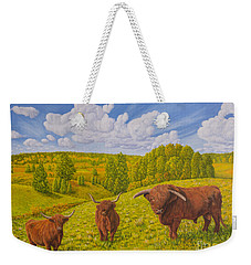 Highland Cattle Pasture Weekender Tote Bag
