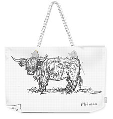 Highland Cow Field Sketch Weekender Tote Bag