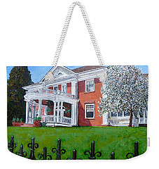 Weekender Tote Bag featuring the painting Highland Homestead by Tom Roderick